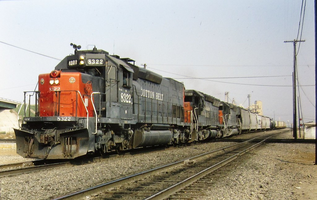 Cotton Belt SD40T-2 locomotive at Colton in 1983 0461