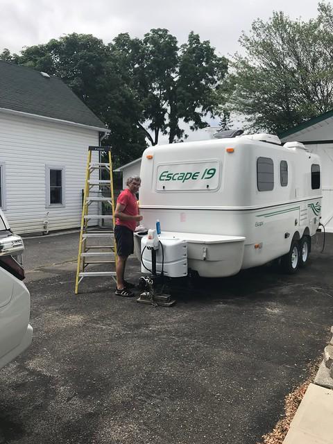 Carleton Place - Pierre polishing the trailer