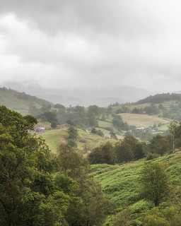 A view of Little Langdale in the drizzle.