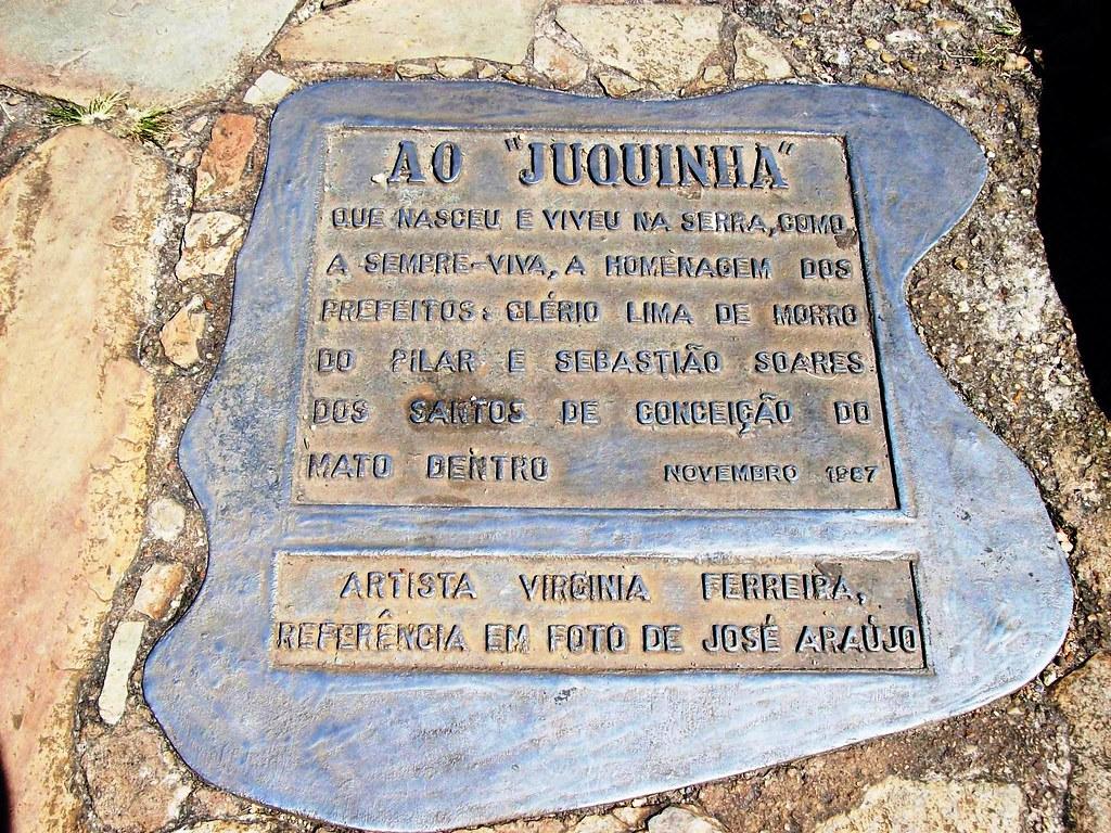 Placa da Estátua do Juquinha - Serra do Cipó (MG)