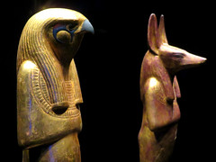 Egyptian gods Herwer (Horus the Elder) and one of his sons, Jackal-headed Duamutef.
