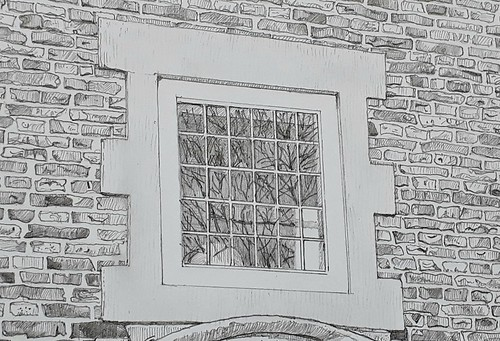 Ingram House doorway (WiP 4): Detail of the window