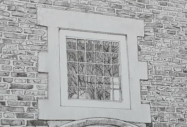 Ingram House doorway (WiP 4): Detail of the window