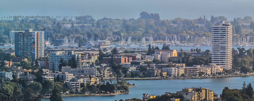 oakland california rockridge over view haze eastbay alamedacounty mountianview d3100 nikon boury pbo31 july 2019 summer city urban downtown lakemerritt blue panorama large stitched panoramic skyline