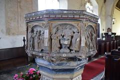 seven sacrament font: Baptism (15th Century)