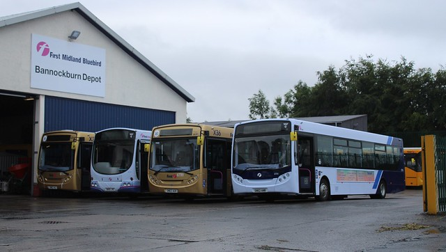Midland Bluebird Ltd  - 67762 - SN62AUJ, 65753 - SN55JVC, 67761 - SN62AUH &67745- SN62ANR; Bannockburn Depot; 20-07-2019