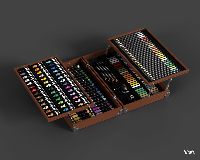 Art set - Wood box (2 stage)