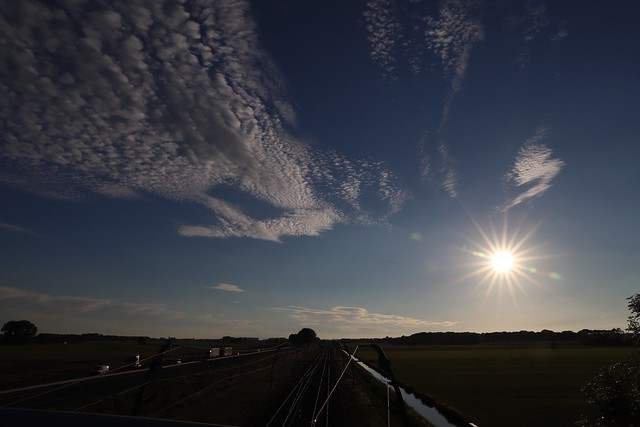 Sunset over railway