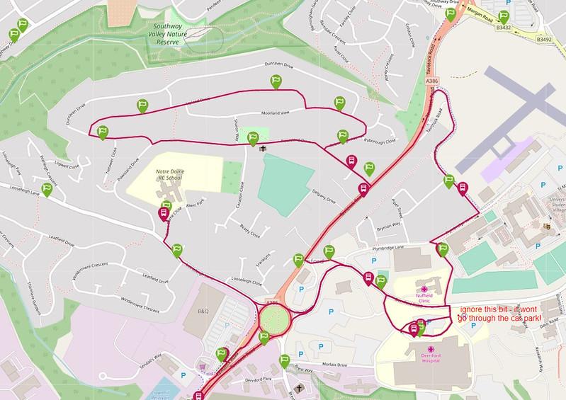 Revised Derriford route of Stagecoach Devon Ltd route 14
