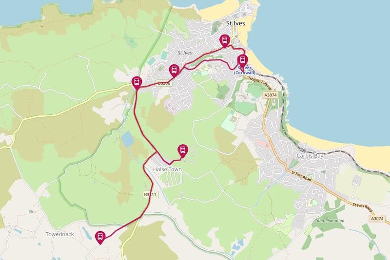 Traveline Map: 33 St Ives opp Cinema - Penderleath - St Ives opp Cinema