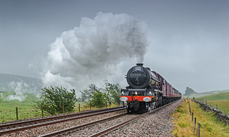 'Princess Elizabeth' powers through the gloom in Ribblesdale with the Railway Touring Company's Cumbrian Mountain Express on July 20th 2019.
