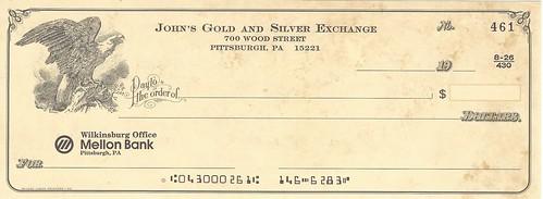 John Burns Gold and Silver Exchange check