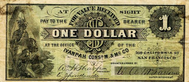 Ivanpah Mining Compnay One Dollar front