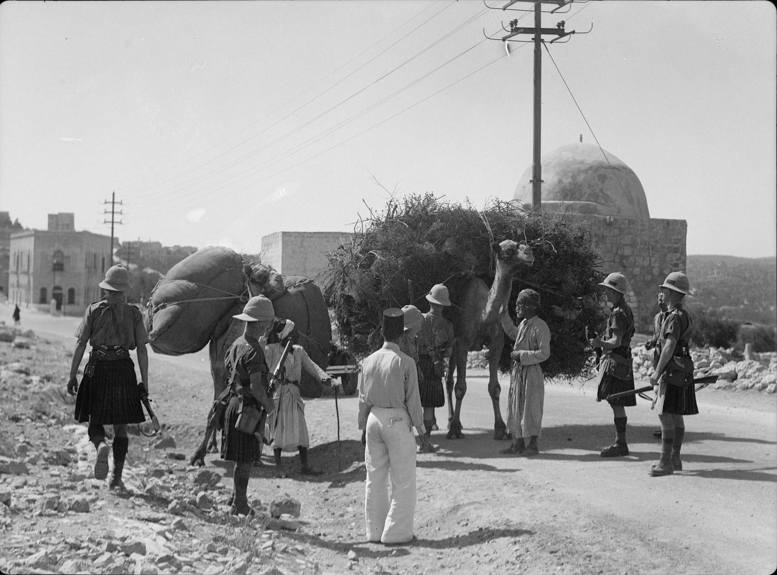 20. Шотландские солдаты останавливают арабов с верблюдами в поисках оружия у Гробницы Проматери Рахели на Вифлеемской дороге