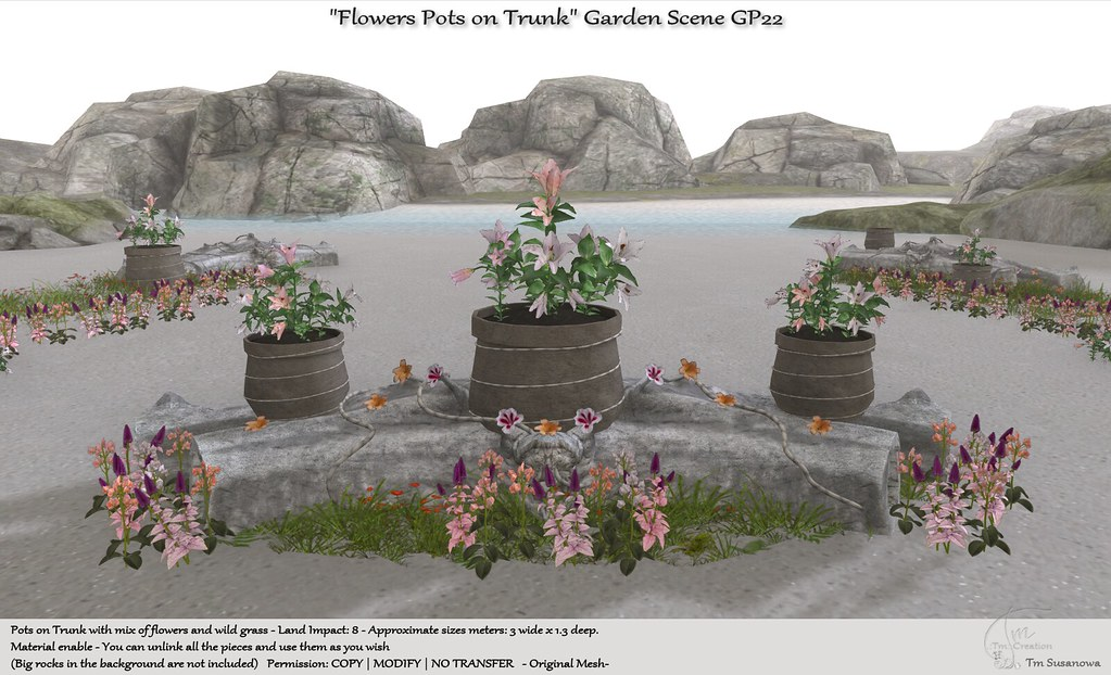 ".:Tm:.Creation ""Flowers Pots on Trunk"" Garden Scene GP22"