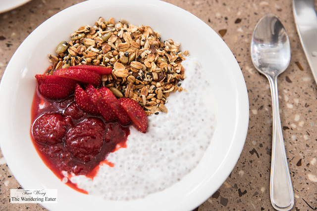 Chia seed pudding with coconut milk, house made granola, strawberry chutney, fresh local Quebec strawberries