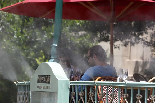 Misters on the patio of a Mon Ami Gabi restaurant in Las Vegas