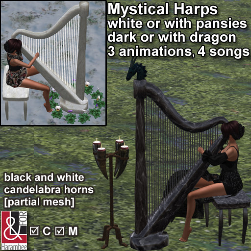 Mystical Harps with candelabra horns