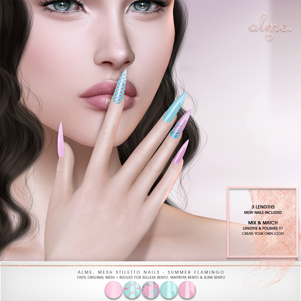 "Alme.for Shiny Shabby-​ ""Alme Mesh Stiletto nails//Summer Flamingo"" ♥"