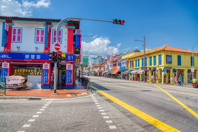 Vibrant, traditional shop houses on Serangoon Road in Little India district of Singapore