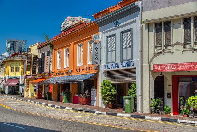 Vibrant, traditional shop houses on North Bridge Road in Arab Street area in Singapore