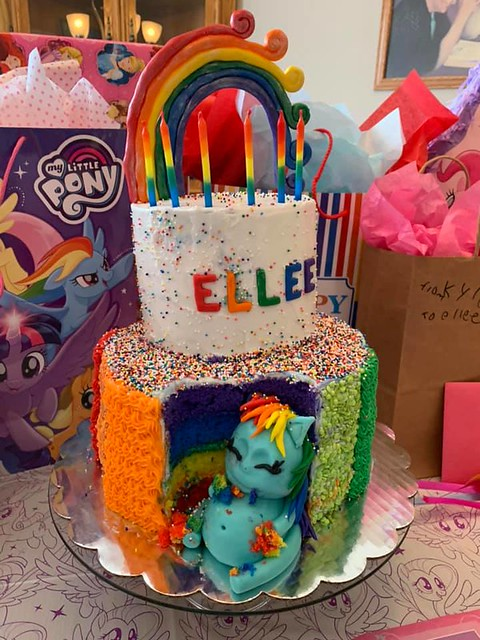 Rainbow Dash My Little Pony Cake with Rainbow Layers and Marshmallow Buttercream by Sweets Cake Studio