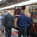 Crowds at Preston Railway Station waiting for the historic Flying Scotsman steam engine