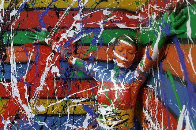 Flesh and Acrylic live art performance with living model Caroline, abstract bodypainting - Braives, Belgium, 2010 - Ben Heine Art