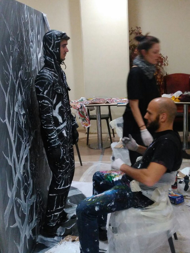 Flesh and Acrylic public art performance with living model/dancer at Ankamall, Ankara, Turkey, 2016 - Ben Heine Art (creative and abstract bodypainting)