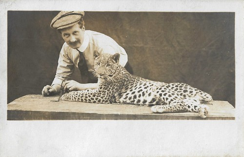 Alfred Machin and his panther Mimir