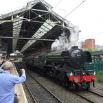 Photo op for the Flying Scotsman in Preston