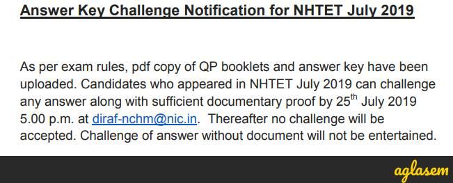Challenge NHTET Answer Key July 2019