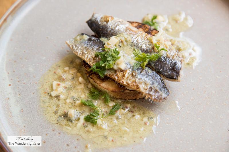 Sardines, gribiche, grilled bread
