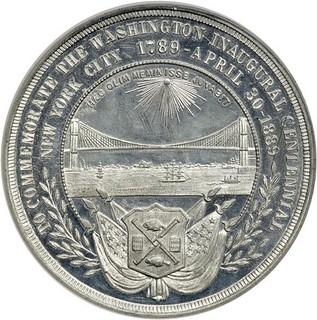 1889 Washington Inaugural Centennial Brooklyn Bridge Medal reverse