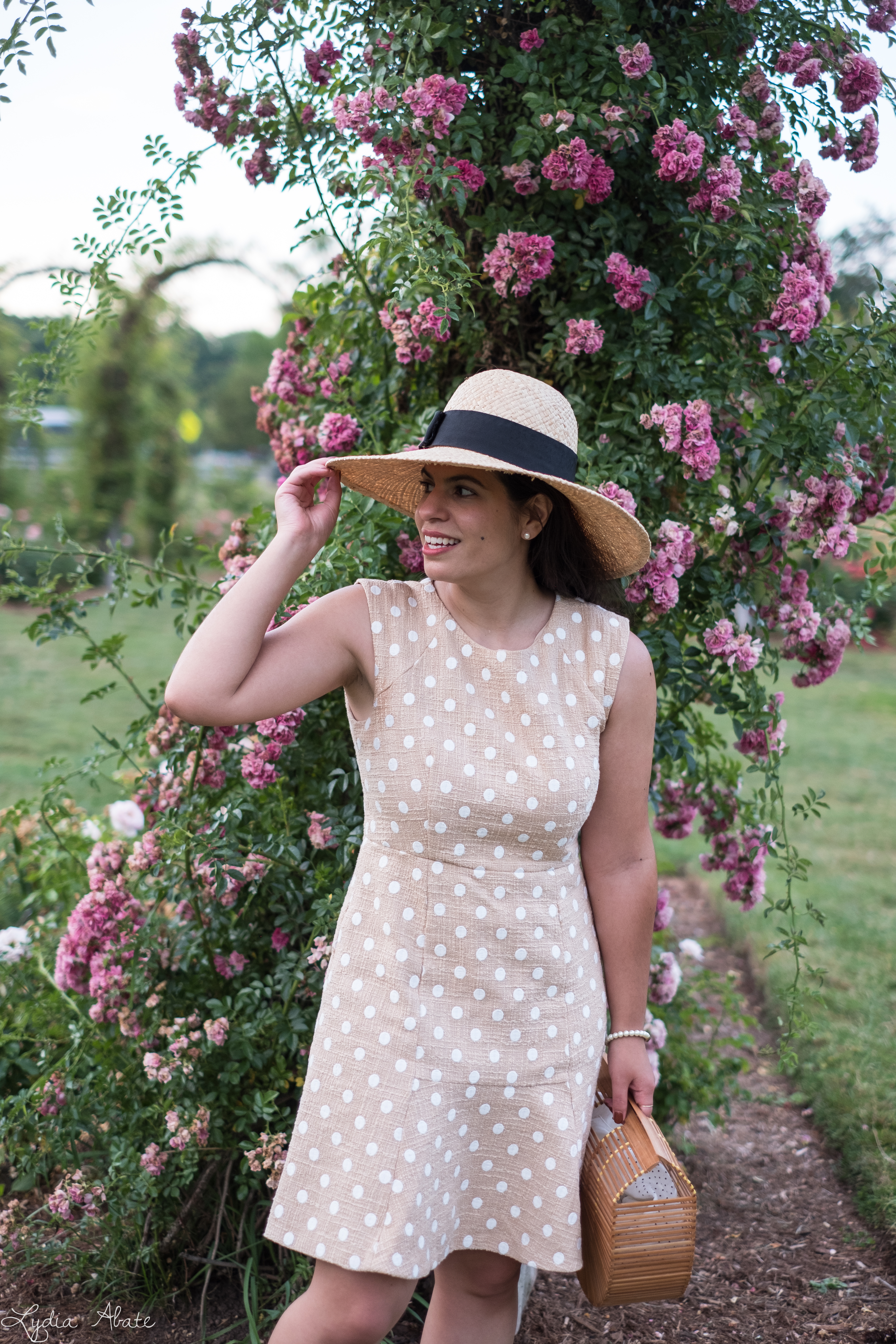 tan and white polka dot dress, straw sun hat, bamboo bag, white slides-32.jpg