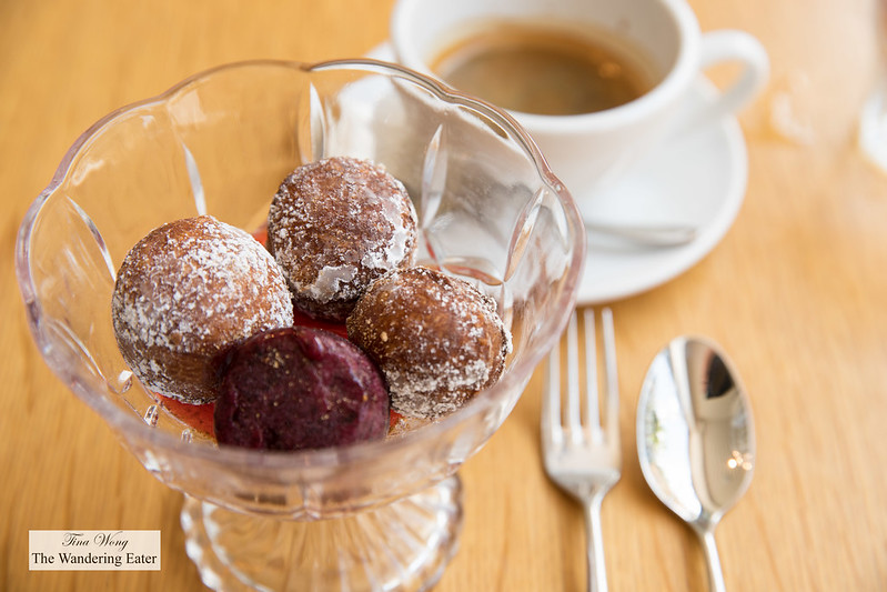 Mini beignets, raspberry sorbet