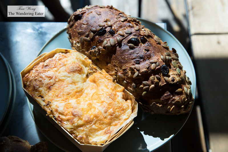 Cranberry and pumpkin seed bread and 6-cheese bread (made only on weekends)