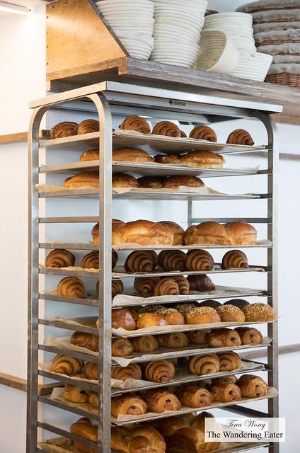 Rack of fresh baked pastries