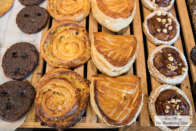 Chocolate cookies, pistachio danish, pommes aux chausson (French apple turnovers), apricot tarts