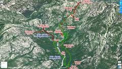 Photo 3D Google Earth du secteur Carciara - Paliri avec les chemins du Carciara (HR21) et de Paliri (HR31) en rouge et le trajet aller - retour en vert fluo de l'operata du 20/07/2019