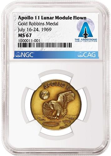 Armstrong Apollo 11 gold Robbins medal obverse slabbed