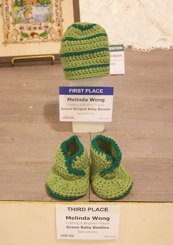 CA State Fair 2019 - Green Striped Baby Beanie & Green Baby Booties