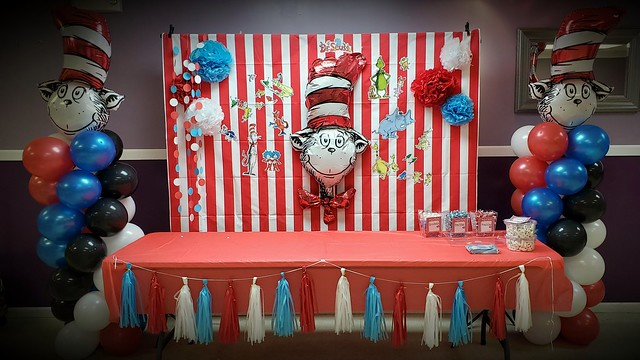 Cat in the hat baby shower decor