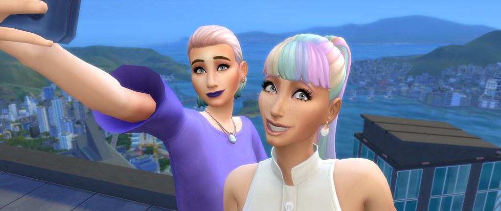 Selfie de dos Sims en Los Sims 4