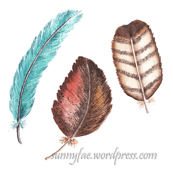 3 feathers watercolour