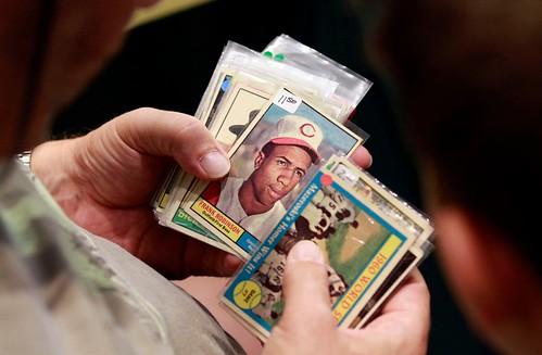 Sifting thru baseball cards