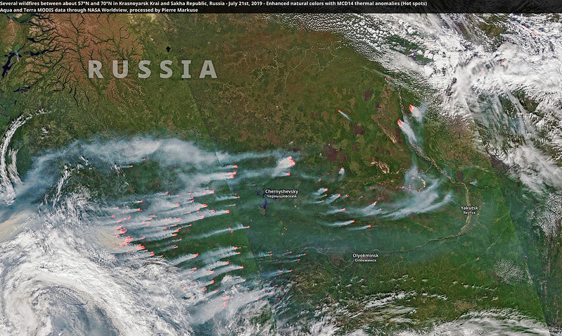Several wildfires between about 57°N and 70°N in Krasnoyarsk Krai and Sakha Republic, Russia - July 21st, 2019