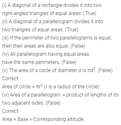ML Aggarwal Class 7 Solutions for ICSE Maths Chapter 16 Perimeter and Area Objective Type Questions Q2