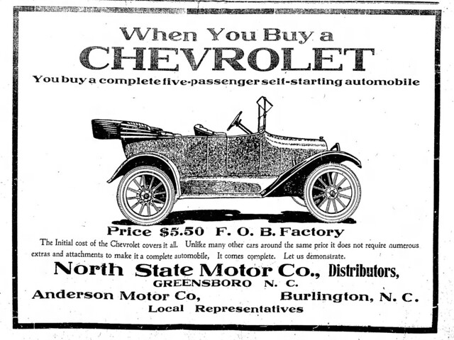 1917 advertisement for Chevrolet