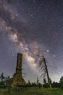 Milky Way and Burnt Tree Over the Ruins of Foster Lodge